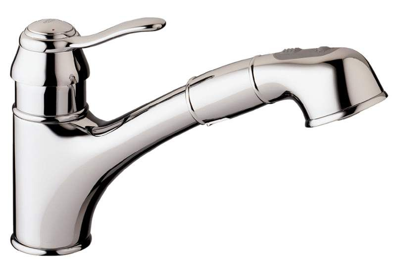 Grohe 32459000 Starlight Chrome Ashford Pull Out Kitchen Faucet With 2 Function Locking Sprayer With Images Kitchen Faucet Modern Kitchen Faucet Single Hole Kitchen Faucet