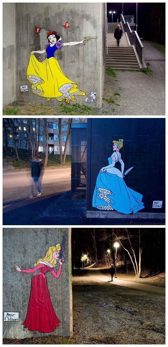 Disney princesses wielding knives and guns in stockholm street art