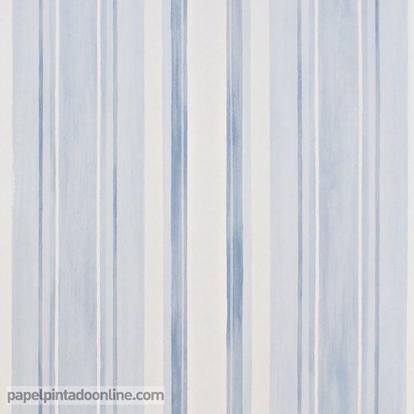 papel pintado infantil babies 10144 con rayas verticales en diferentes grosores y tonos de azul y - Papel Pintado Rayas Verticales