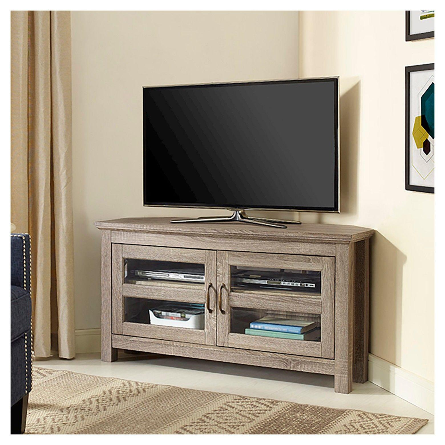 Modern 2 Glass Door Corner Tv Stand For Tvs Up To 50 Driftwood Saracina Home Wood Corner Tv Stand Black Corner Tv Stand Tv Stand Furniture