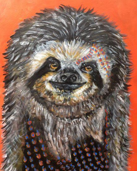 Sloth Love  Acrylic Paint On Canvas 8x10 www.berggrenfibers.com