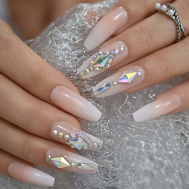 Luxury Custom Large Stones Decorated Nail Art Tips Ombre Coffin Shape Vettsy Coffinnails In 2020 Nails Design With Rhinestones Rhinestone Nails Summer Acrylic Nails