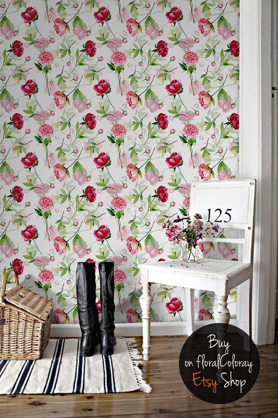 Red Rose Wallpaper Peonies And Roses Peony Decal Etsy Papel Pintado Sobres De Papel Pintar