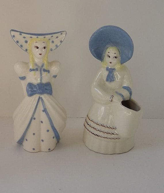 1950s Kitschy Set of Sister Vases  Frieda and by NostalgicRose, $25.00