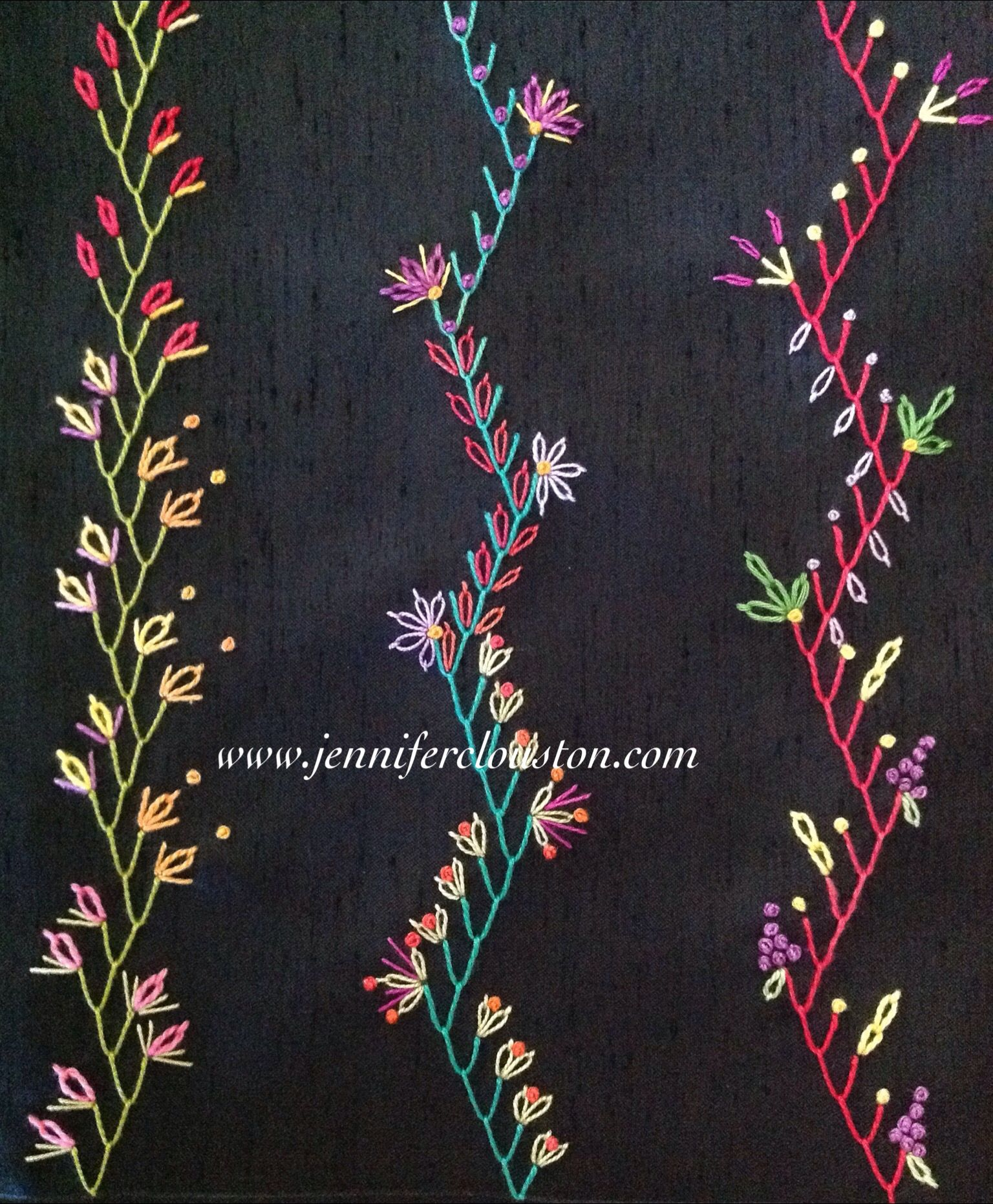 Embroidery feather stitch crazy quilting