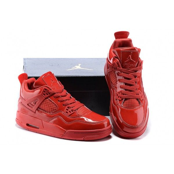 new style 6a4f1 8df50 mens authentic air jordan 4 red patent leather retro 11lab4