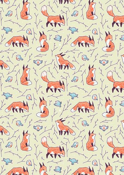 Fox and Bird Pattern by freeminds on DeviantArt