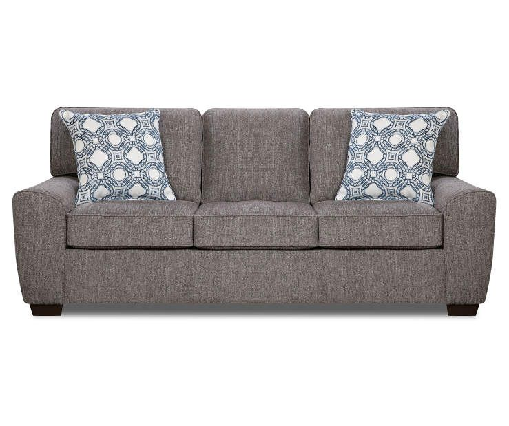 Redding Gray Chenille Sofa With Pillows Big Lots Grey Chenille