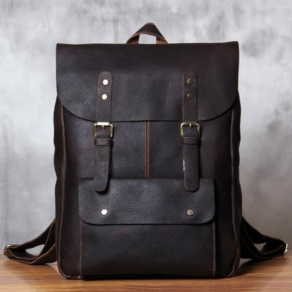 0cc2af6355 Vintage Leather School Backpack Casual Travel Backpack Laptop Bag in Dark  Coffee 9452 - LISABAG