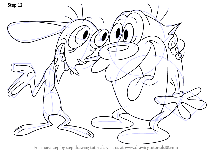 Learn How To Draw Ren And Stimpy The Ren And Stimpy Show Step By Step Drawing Tutorials Drawings Cartoon Tattoos Tattoo Stencil Outline