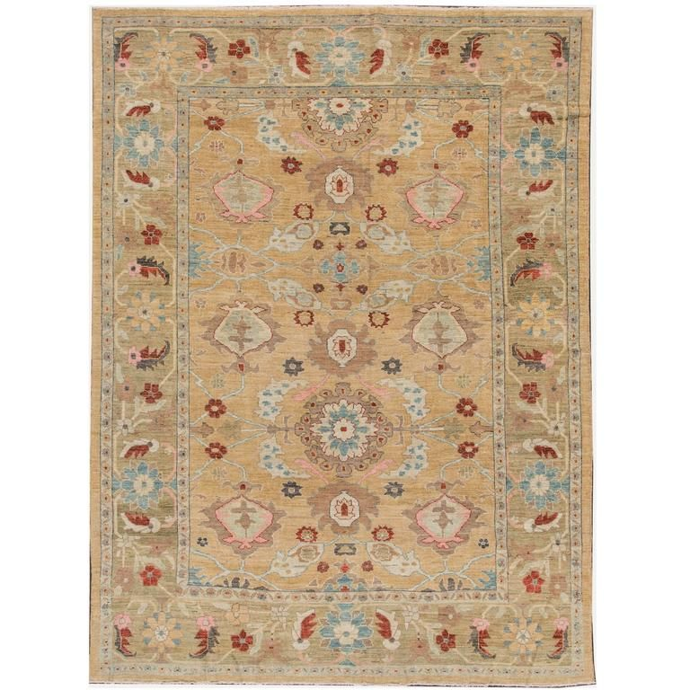 21st Century Modern Beige Tan Persian Sultanabad Rugs Rugs On Carpet Handmade Rugs