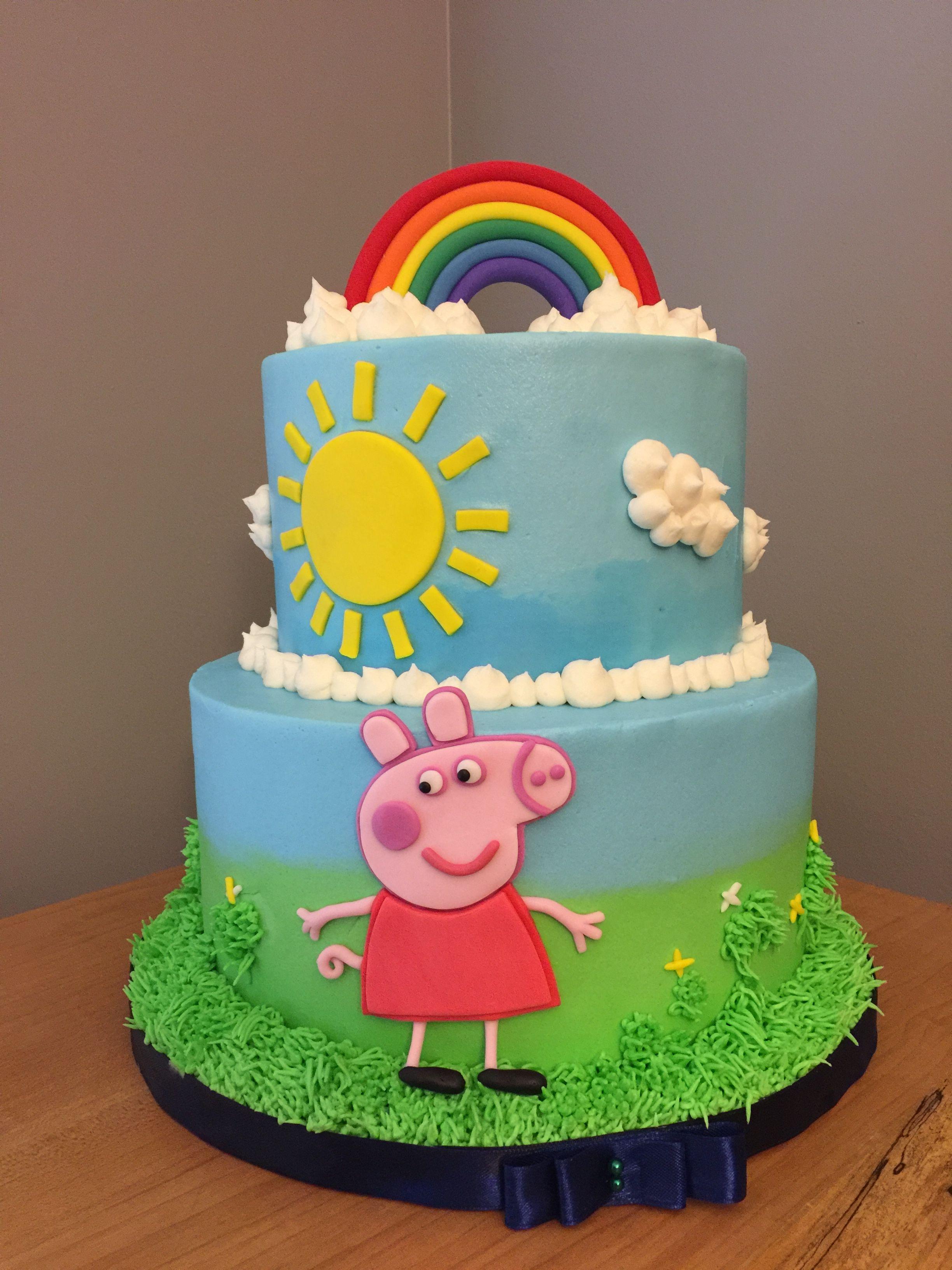 Peppa Pig Buttercream Cake Pig Birthday Cakes Peppa Pig