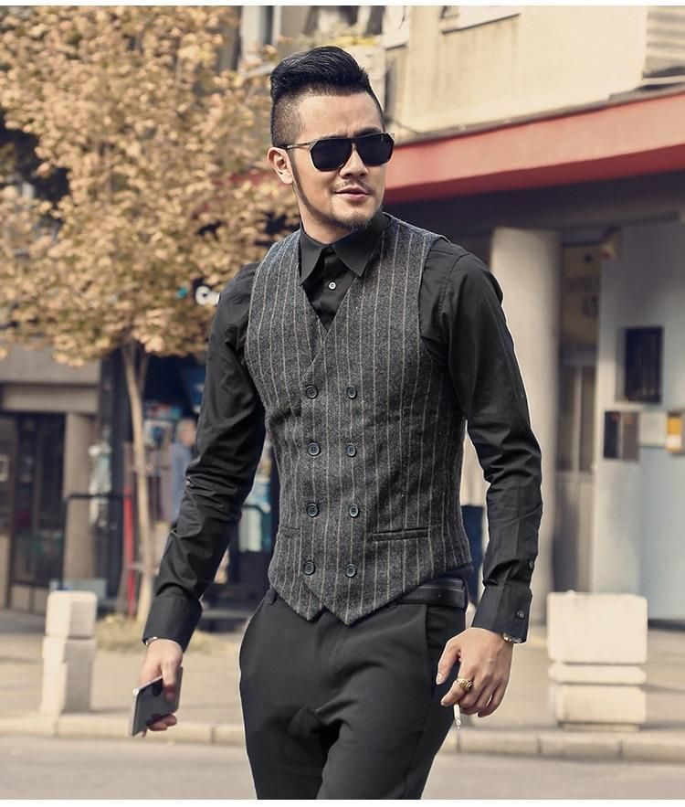 02471448e706 Men s Spring Autumn Double-Breasted Striped Suit Vest in 2019 ...