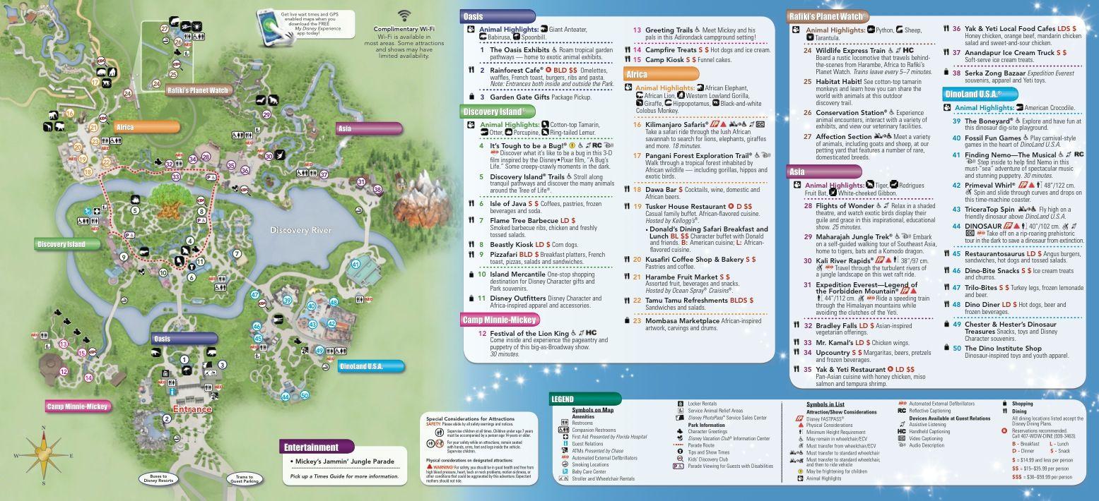 Animal Kingdom Florida Map.Animal Kingdom Map Passporter My Orlando Florida Holiday Plans