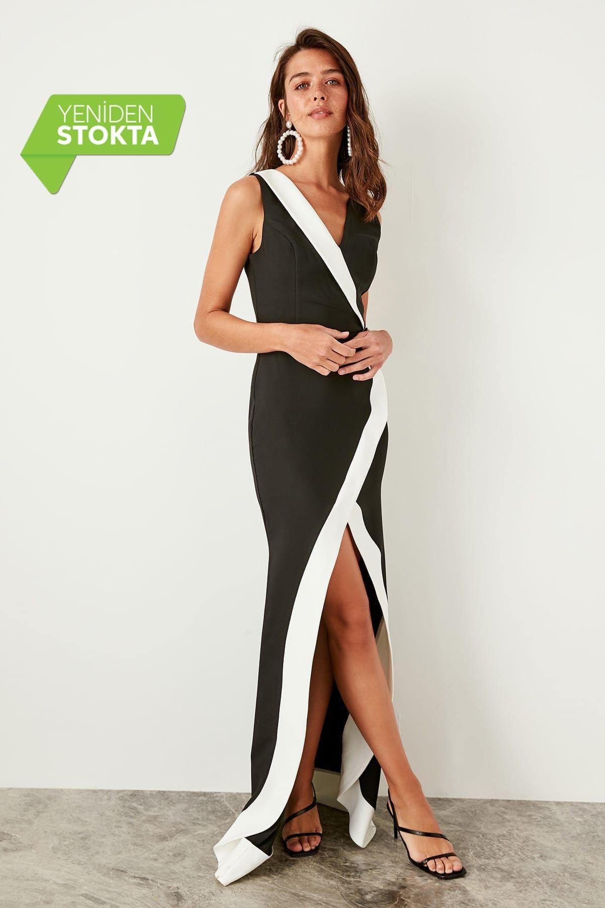 Trendyolmilla Siyah Kruvaze Yaka Abiye Elbise Tprss19bb0286 Aksamustu Giysileri The Dress Ve Kadin