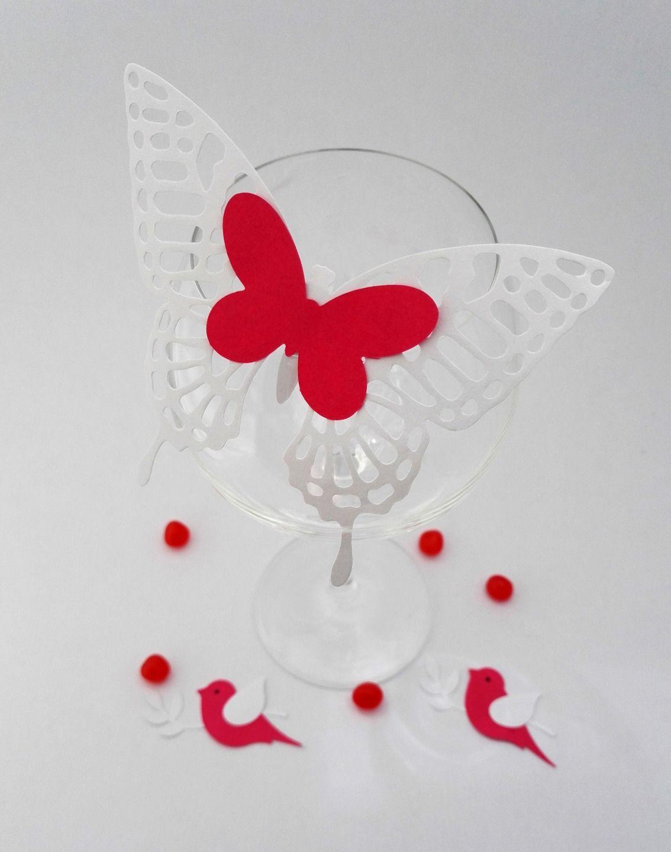Set Of 10 Place Card Wedding Baptism Paper Effect Butterfly Lace To Customize Marque Place Mariage Papillon En Papier Marque Place