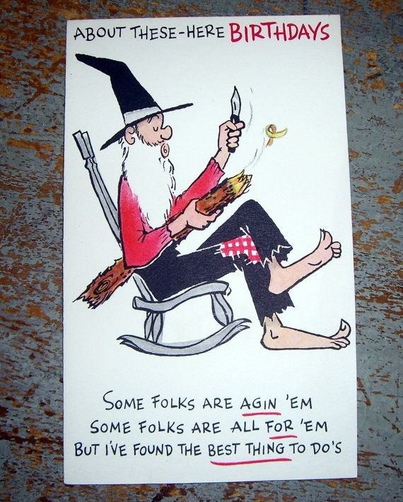 Vintage Cards Hallmark Birthday Old Man Whittling By TheBackShak 300