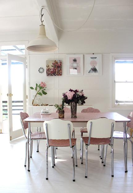 Cream Colored Retro Dining Room With Rose Quartz Pink Accents Pantone Used In