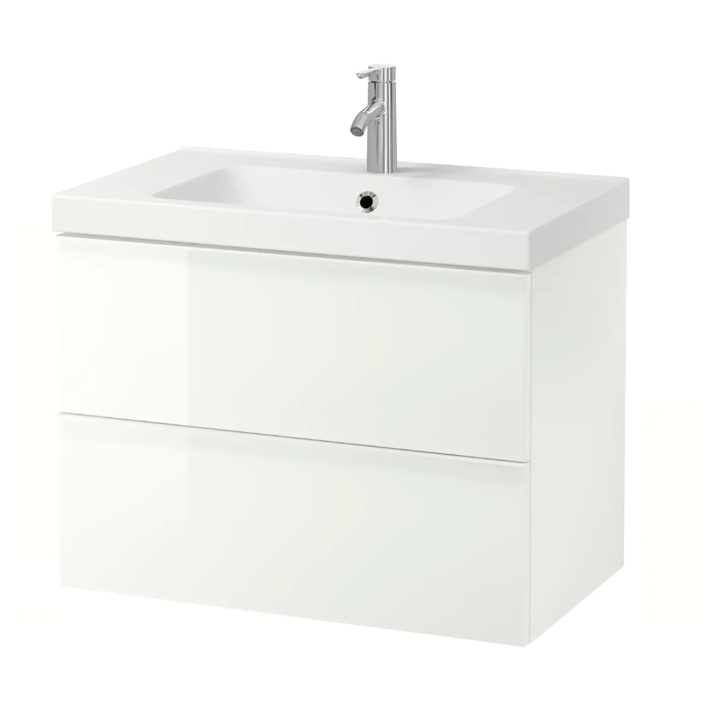 Godmorgon Odensvik Sink Cabinet With 2 Drawers High Gloss White Dalskar Faucet 32 5 8x19 1 4x25 1 4 Ikea In 2020 Ikea Godmorgon Sink Cabinet Wash Stand