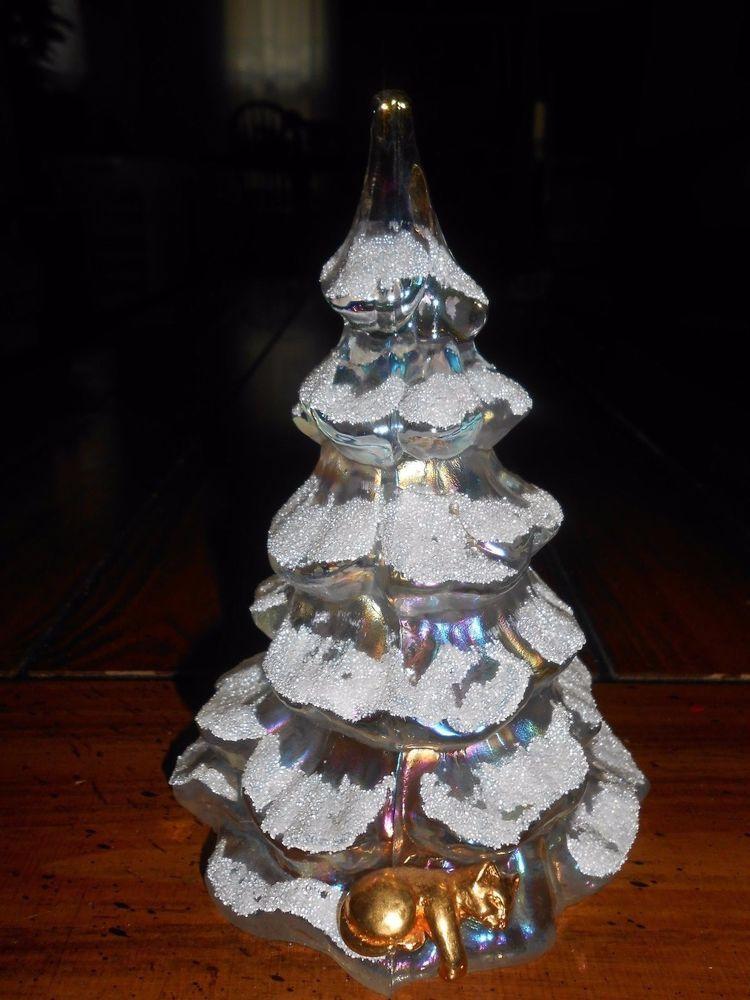 VTG FENTON WHITE IRIDESCENT SNOW FENTON ART GLASS CHRISTMAS TREE~GOLD CAT~6 - Vtg Fenton White Iridescent Snow Fenton Art Glass Christmas Tree
