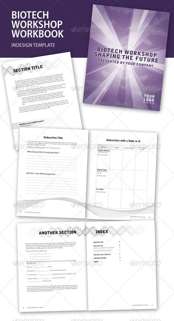 Biotech Workshop InDesign Workbook Photoshop PSD O Available Here