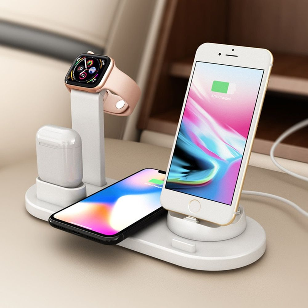 10w Qi Wireless Charger Dock Station 4 In 1 For Iphone Airpods Micro Usb Type C Stand Fast Charging Presspia Apple Watch Charger Charging Station Apple Watch Charging