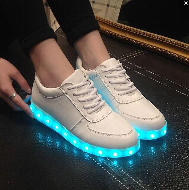 Womens Women LED Light Luminous Sneaker Fluorescence Unisex Athletic Shoes USB Charge Online Shop Size 37