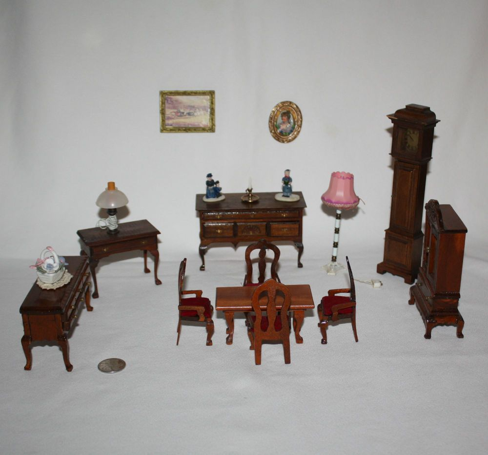 High Quality Huge Lot Miniature Doll House Furniture Dining Room Wood Accessories Big Ben  EUC #Unbranded