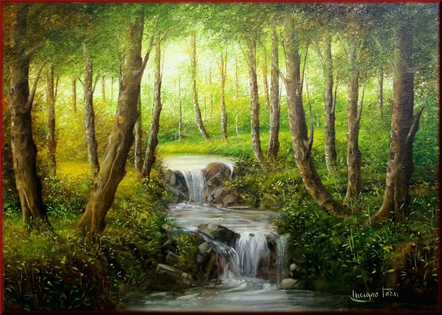 Pretty Forest Painting Idea With Depth And Stream Luciano Torsi Art Techniques Paint Waterfall Paintings Landscape Paintings