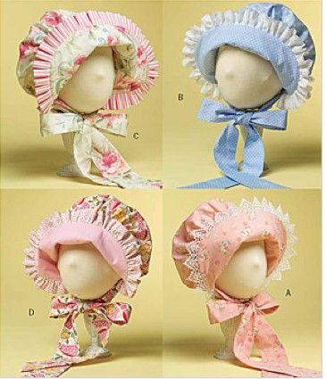 BABY BONNET Sewing Pattern - 4 Bonnets Hats - OOP