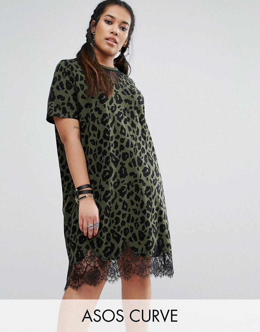 8d8d1b01488 ASOS CURVE T-Shirt Dress with Lace Inserts in Leopard Print - Multi. Plus-size  dress by ASOS CURVE