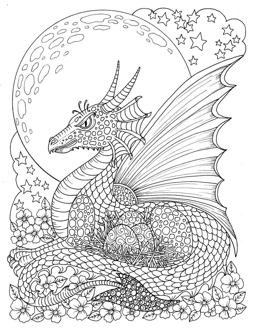 Fantasy Digital Download printable book, adult coloring ...