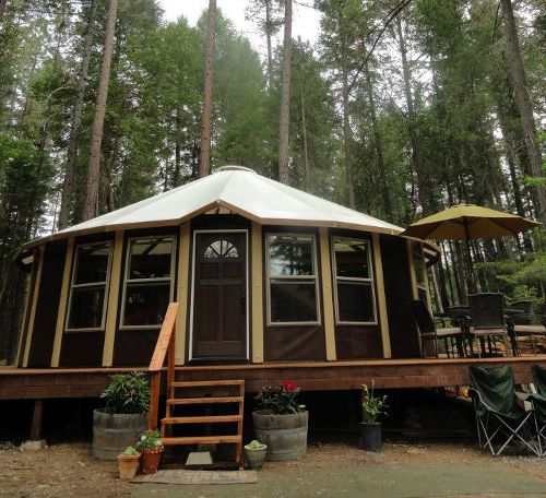 Wooden yurts with real windows - more permanent than a