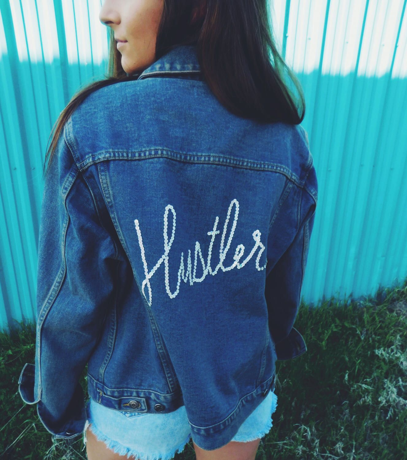 Flannel and denim jacket outfit  Hand Embroidered Distressed Denim Hustler Jacket by CircaDenim on