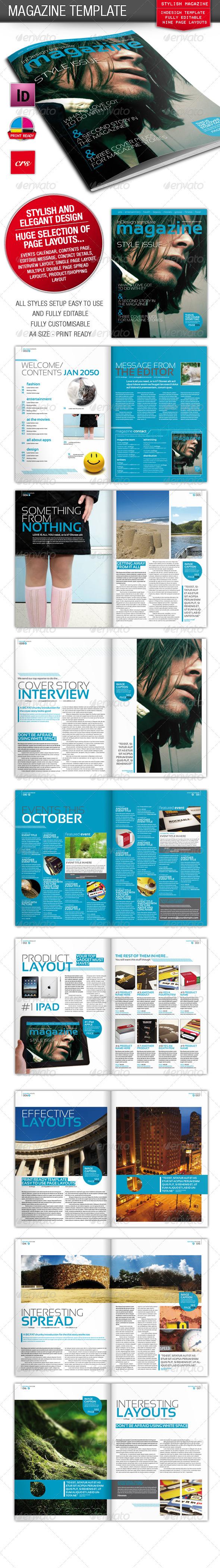 Stylish InDesign Magazine Template   Indesign magazine templates ...