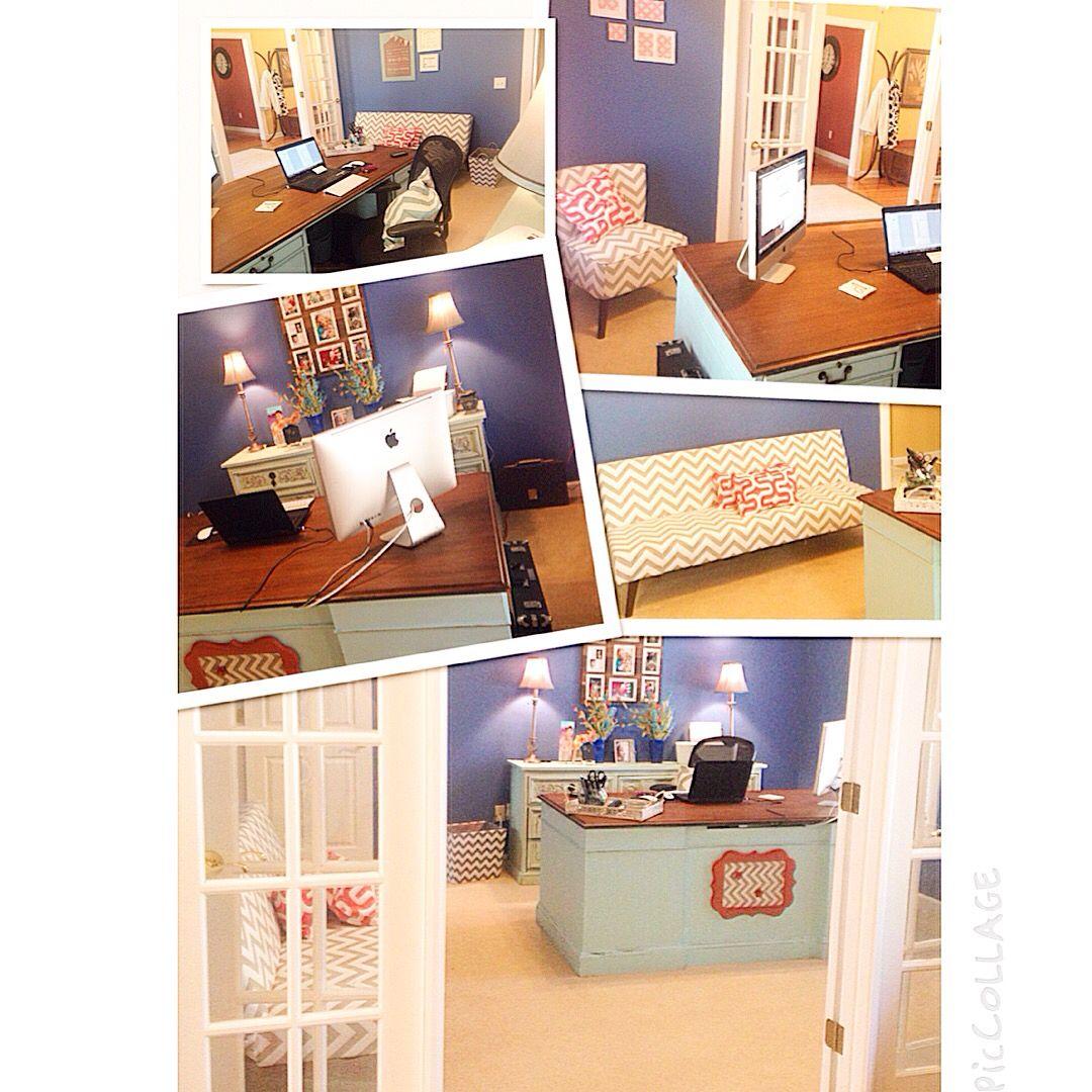 Office Decor. Chevron. Shabby Chic. Sky Blue Coral Royal