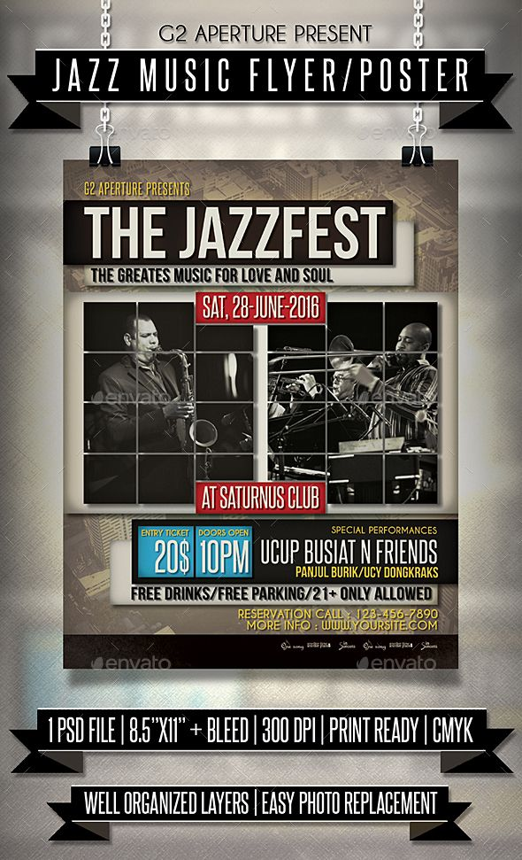Jazz Music Flyer  Poster  Music Flyer Jazz Music And Jazz