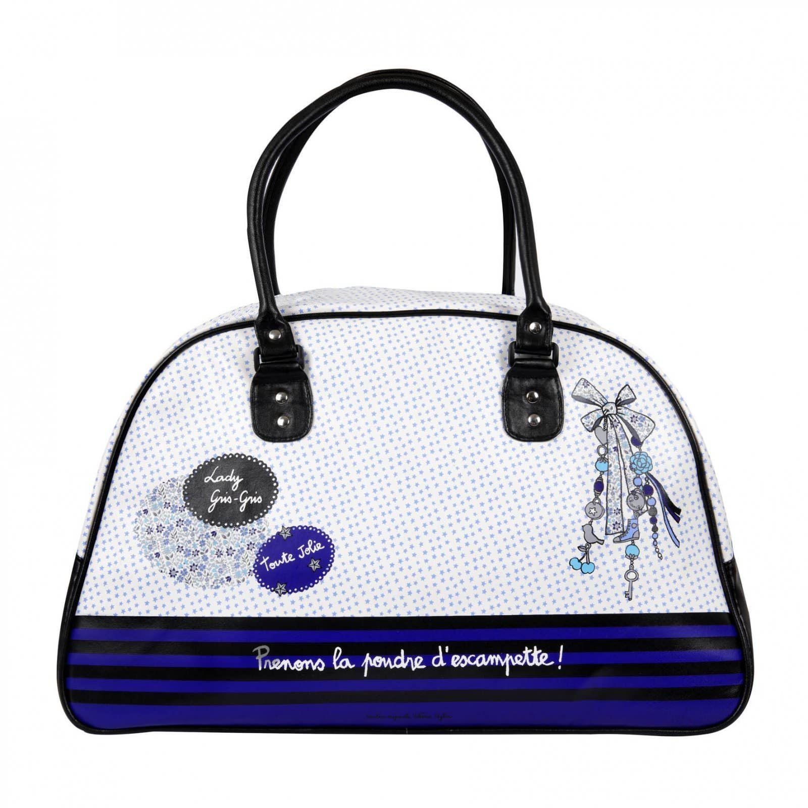 sac de voyage poudre d 39 escampette bleu derri re la porte dlp accessoire de voyage sacs. Black Bedroom Furniture Sets. Home Design Ideas