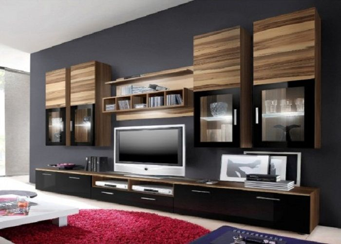 Dark Wood Wall Tv Units With Bottom Cupboard And Top Shelves Tv Wall Unit Ikea Tv Wall Unit Entertainment Center Wall Unit