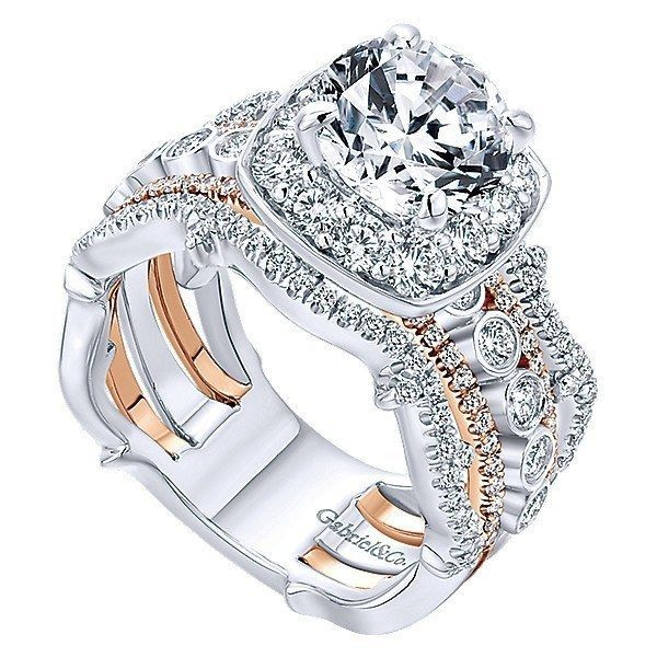a2f75b18dd3 18K Rose and White Gold Stacked Vintage 5-Band Style Diamond Engagement Ring