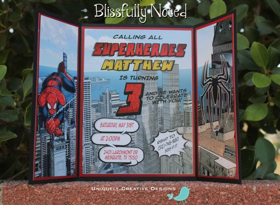 Spider Man Invitation by BlissfullyNoted on Etsy, $2.40