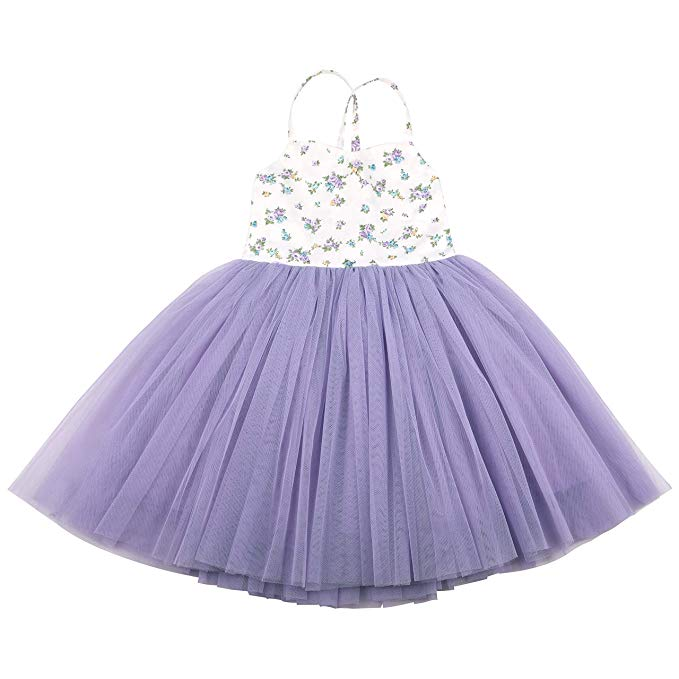 Flofallzique Toddler Girls Tutu Dress Tulle Birthday Wedding Party Floral Baby Dress
