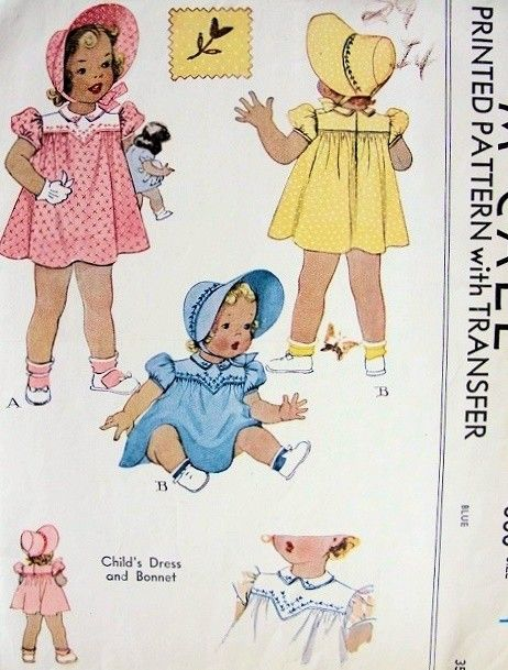 CUTE 1940S VINTAGE CHILD'S DRESS AND BONNET PATTERN MCCALL #880...would also make a pair of panties