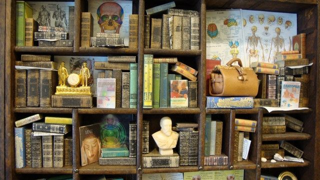 Miniature medical-themed bookcase/library with INCEPTION MINI DOCTOR's OFFICE!! From bagusitaly on etsy, who is clearly a master of this craft! #miniaturemedical