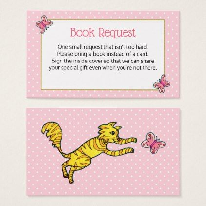 Cute cat pink butterfly baby shower book request business card reheart Image collections