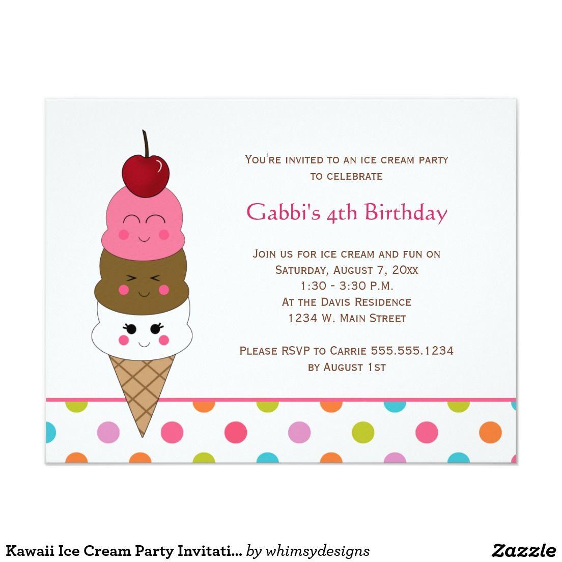 Kawaii Ice Cream Party Invitations | Party invitations