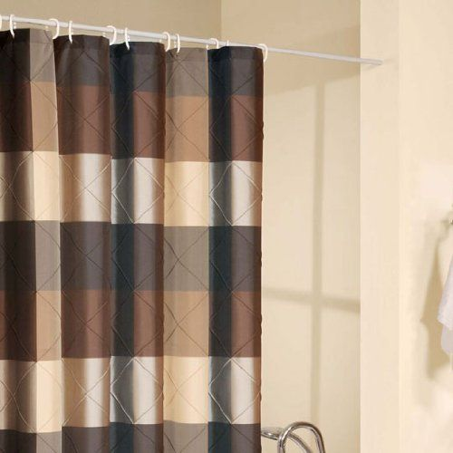 Madison Park Quincy Shower Curtain In Khaki Cotton Shower