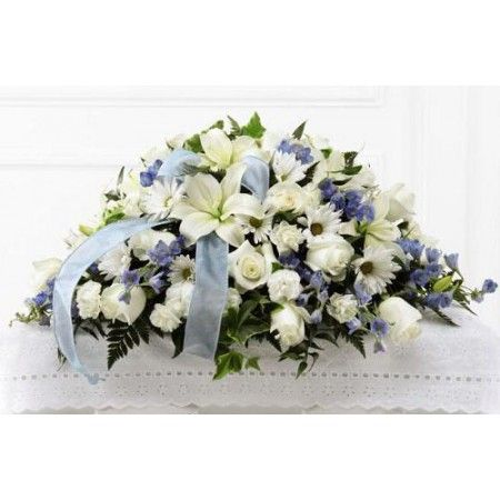 Tender treasure funeral flower casket spray of pale blue and white tender treasure funeral flower casket spray of pale blue and white flowers for baby boy mightylinksfo