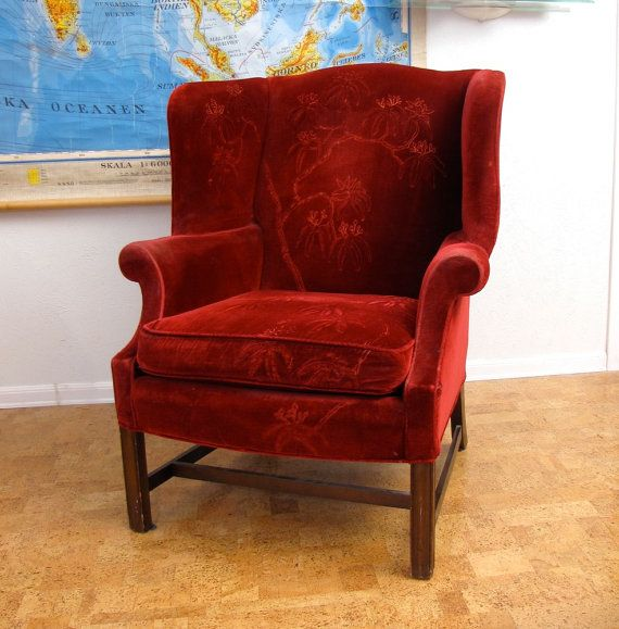 Beau Red Velvet Wingback Club Chair Hollywood Regency Seating Vintage Drexel