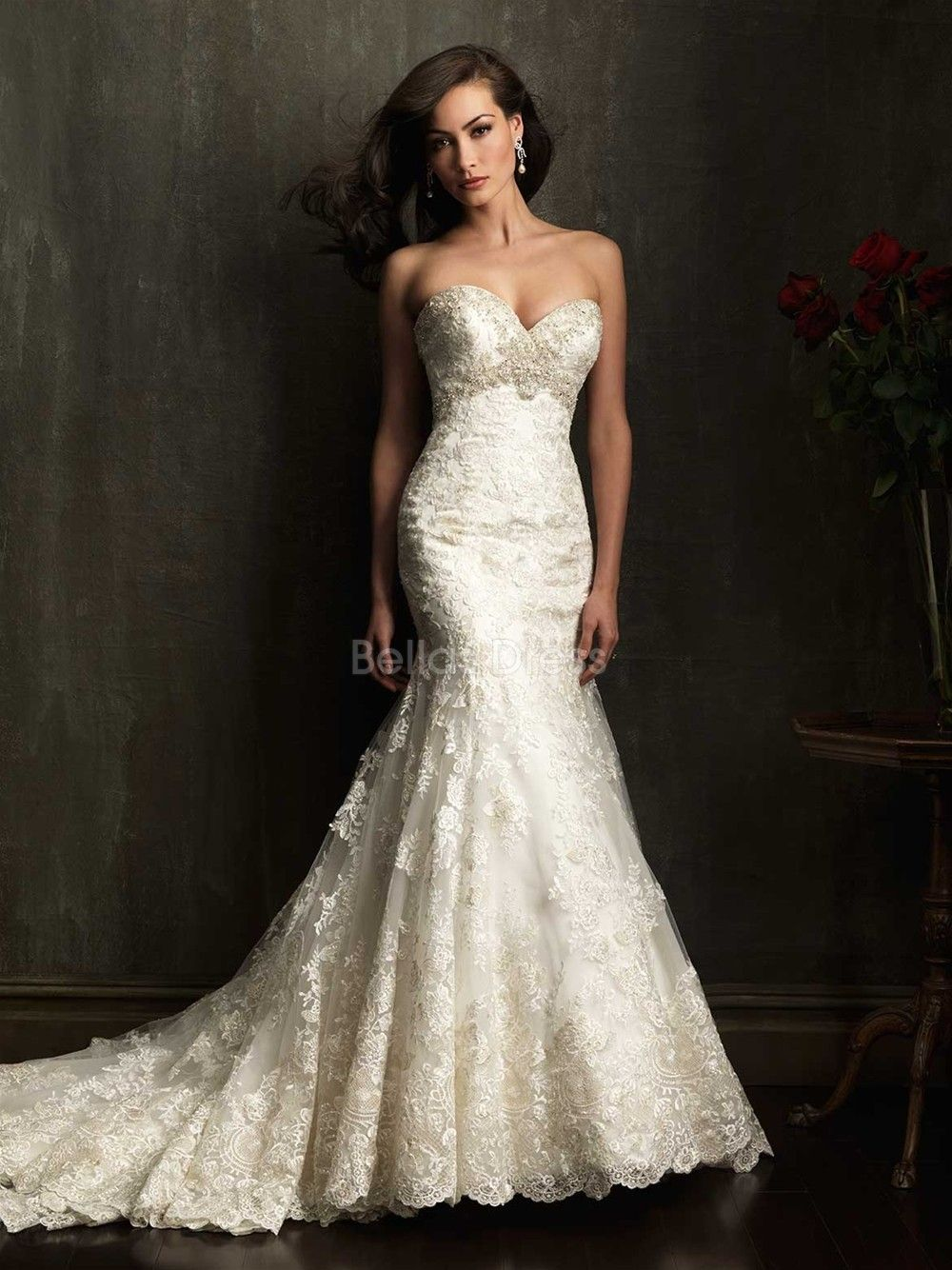 Elegant Mermaid Empire Waist Lace Sweetheart Floor Length Wedding